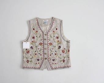 90s linen vest | floral embroidered vest | folk floral vest
