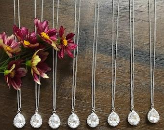 Teardrop Bridesmaid necklace set of 8, Cubic Zirconia teardrop necklace, bridesmaid Jewelry