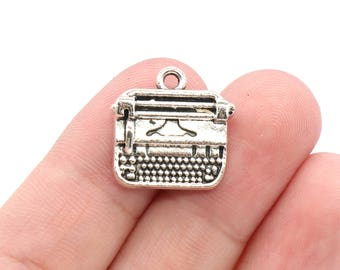 4 Pcs Typewriter Charms Antique Silver Tone 17x28mm - YD1731