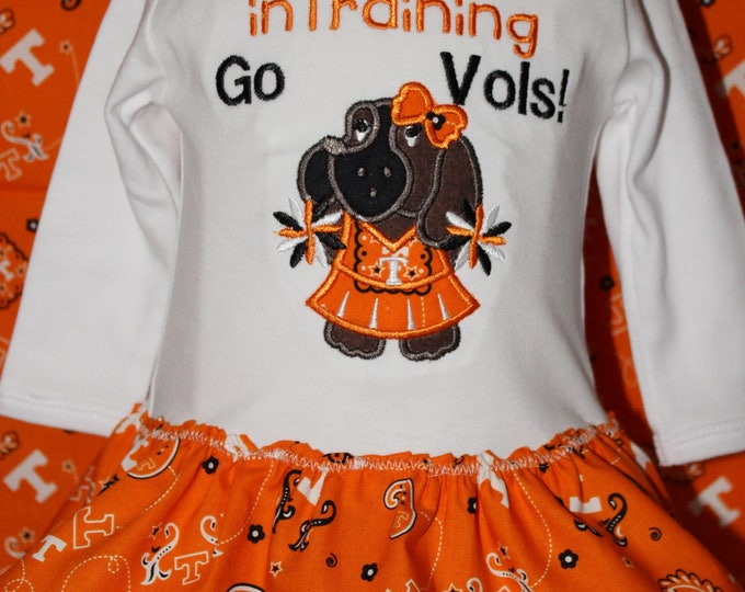 Tennessee Volunteers baby girl outfit,Tennessee Vols girl bodysuit,University of Tennessee girl bodysuit, Orange bodysuit with skirt, U of T