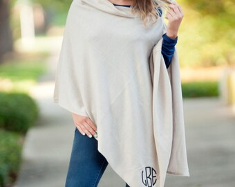 Monogrammed Poncho, Personalized Poncho, Fall Poncho, Winter Poncho, Monogrammed Sweater, Creme Chelsea Poncho, Fall Poncho, Monogram Poncho