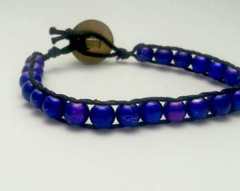 Purple Beaded Bracelet with a Button Clasp