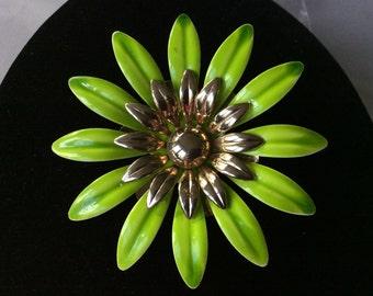 Sarah Cov Lime Green Enamel Flower Leaf Brooch/Pin