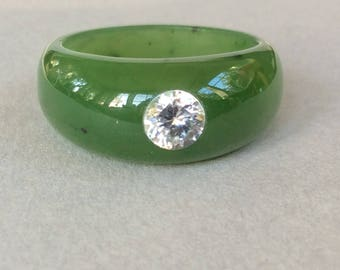 Canadian Nephrite Jade and CZ Ring Size 10 3/4