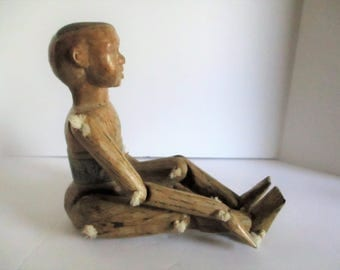 Rare Vintage Asian Doll Hand Carved Wood Polychrome Articulated Wooden Boy Doll Jointed