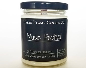 Music Festival Soy Candle  - Book Candle - Soy Candle   - 9 oz Jar