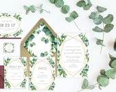 Eucalyptus Gold Geometric Wedding Invitation Suite -Printable Wedding Invitation Suite, DIY Wedding Invitation, Geometric Invite Gold Invite