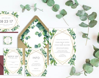 Eucalyptus Gold Geometric Wedding Invitation Suite -Printable Wedding Invitation Suite, DIY Wedding Invitation, Geometric Invite Gold Invite