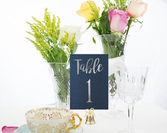 Shimmer Navy and Silver Foil Table Numbers Handmade Wedding #0102NB