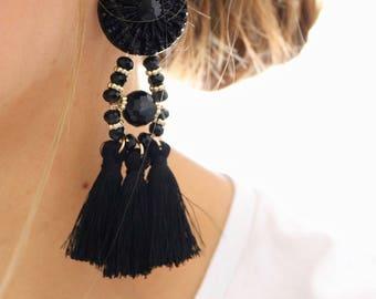 Black tassel earrings, bold earrings, black earrings, tassel earrings, statement earrings, chunky earrings, chunky statement earrings, black
