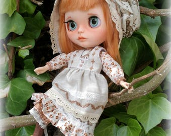 Blythe outfit original, vestido lino  blythe, ropa blythe, pullip outfit, ropa hecha a mano blythe, vestido blythe, ropa escala 1/6