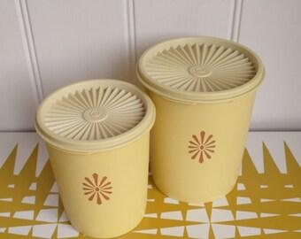 Splendid Vintage set of two fan lidded Tupperware containers. Retro kitchen storage