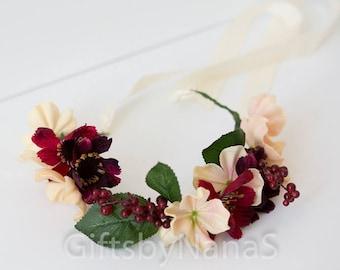 Hair wreath flower, pink and burgundy hair crown, hydrangea and berries floral crown, woodland floral hair wreath, blush pink and red