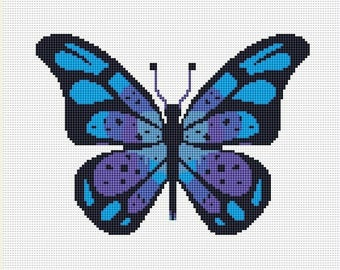 Blue Butterfly Counted Cross Stitch Pattern / Chart, Instant Digital Download  (AP063)