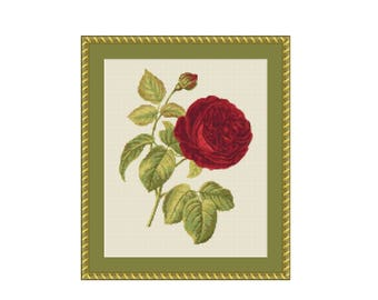 Red Rose Floral Counted Cross Stitch Pattern / Chart, Instant Digital Download  (AP220)