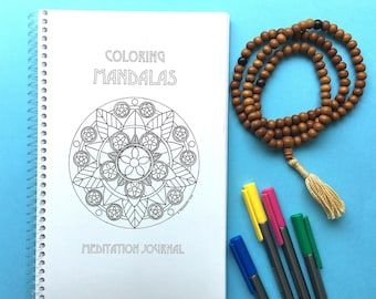 COLORING Mandalas Meditation Journal, Original Art, Handmade, Adult Coloring Book, Coloring Journal, Art therapy, Meditation book