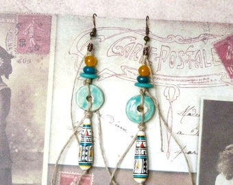 Boho Earrings, Ethnic Earrings, Turquoise Earrings, Hippie Earrings, Bohemian Earrings, Southwestern Jewelry, Native Jewelry, Gift for Her