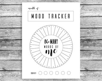 Mood tracker etsy for Mood log template