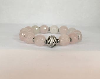 Women's rose quartz bracelet with a bali sterling silver bead