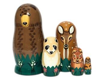 NEW!! Forest animals  (5 dolls) Nesting dolls for kids - Matryoshka - Russian nesting dolls - Babushka doll - Bear - Reindeer - Raccoon - -