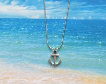 anchor necklace, message jewelry, anchor jewelry, little girl necklace, ocean necklace, beach lover gift, beach necklace, beach jewelry