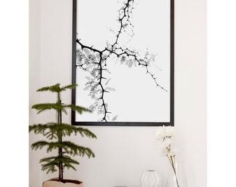 Black and white branches   Tree branches print   Scandinavian print   Scandinavian poster   Nordic print   Scandinavian interior design
