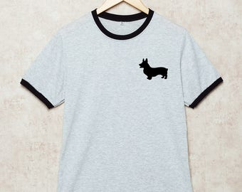 Corgi Shirt Corgi T-Shirt Dog Tshirt Welsh Corgi Shirts Pocket Print Pet Funny Grey Size S , M , L , XL , 2XL , 3XL three color ring