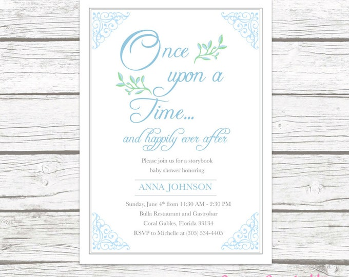 Story Book Baby Shower Invitation, Storybook Invitation, Fairy Tale Invitation, Once Upon a Time Baby Shower Invite Boy, Printable