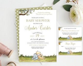 Winnie the Pooh Baby Shower Party Bundle, Pooh Baby Shower, Classic Pooh, Classic Pooh Shower, Winnie Pooh Invitation, Winnie Diaper Raffle
