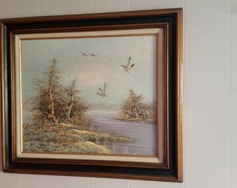 "Havell oil painting ""wild geese"""