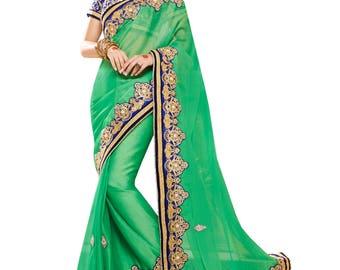 Indian designer party wear sari saree ethnic bollywood wedding Green & Blue Colored Chiffon Saree.