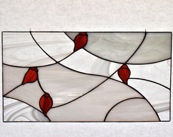 Holiday Stained Glass Red Cardinal Glass Decor Bird Stained Glass Panel Ready to Ship Made in USA by Glass Blessings