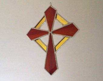 "Cross Sun Catcher, Stained Glass Cross, Small Window Decoration ""Sunburst Cross"" Handcrafted Cross Gift, Gift under 30, Glass Gift Idea"