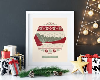 Ugly Sweater Print - Mountain Holidays - Nursery Art - Christmas Art Prints - Holiday Decorations for the Home - Home Christmas Decorations