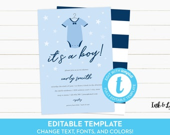 Blue Baby Shower Invitation - It's a Boy Shower Invitation - Templett - DIY Boy Shower Invitation - Printable Baby Shower Invite