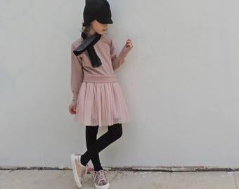 Girl Pink Tutu Dress, Girl Blush Pink Dress, Girl Tulle Dress, Trendy Girl Dress, Baby Dress 18 months to Girl Dress Size 7 - by PetitWild