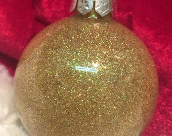 Gold and Iridescent Glitter Ornament