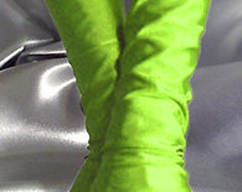 X Long spandex fingerless gloves Arm warmers Neon green