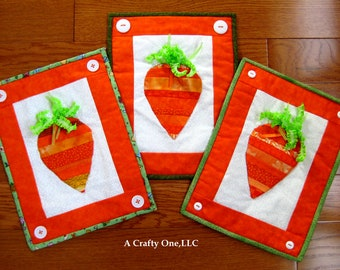 Carrot Wall Hanging, Spring Wall Decoration, Carrot Fabric Wall Art,Quilted  Carrot Wall
