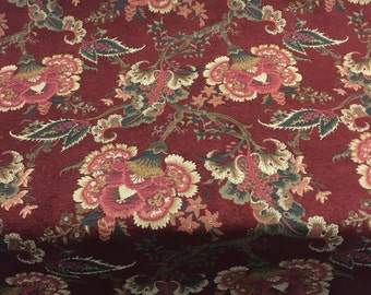 Victoria Floral Merlot Upholstery Chennile Fabric By the yard