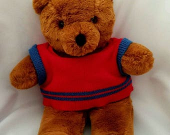 Vintage Teddy Bear Plush Caltoy Barret Bear Brown With Red Sweater 16 Inches Tall Plushie Vintage Stuffed Animal Toy