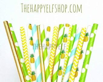 Pineapple party straws. tropical straws. pineapple straws. flamingo decor. flamingo party suppy. paper straw. watermelon straws. luau party