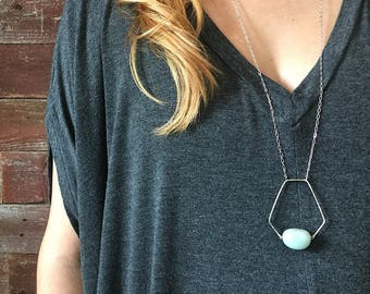 Pentagonal Pendant Necklace with Amazonite, Hand Hewn Pentagon Bead Frame in Nickel & Silver Plated Chain, Light Blue Geometric Necklace