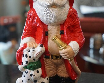 Vintage Ceramic Fireman Santa/ Firefighter Santa/ Dalmatian and Santa/ Santa Collector/ Santa Statue