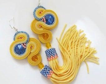 Yellow Tassel Earrings soutache earrings summer earrings Bright earrings  gift for sister summer jewelry for women gift pastel earrings