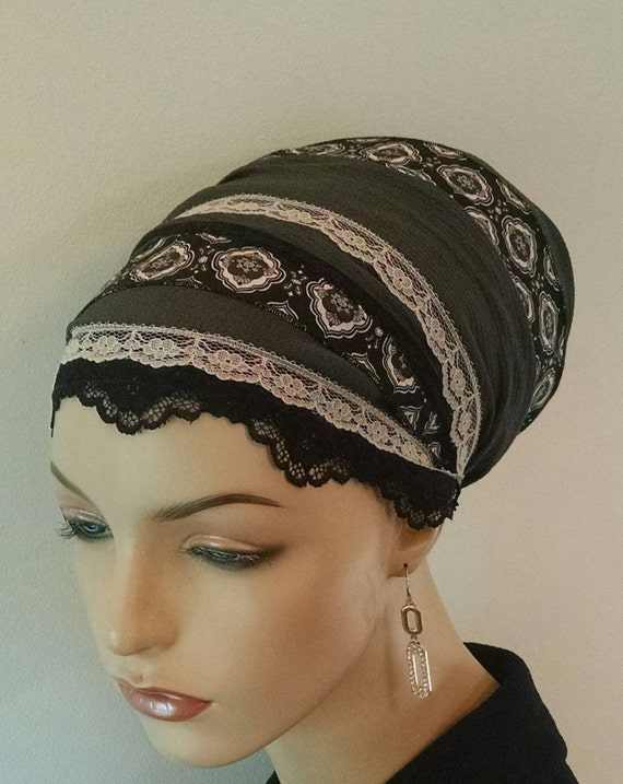 Sophisticated gray dressy sinar tichel, tichels, chemo scarves, hair snoods, head scarves