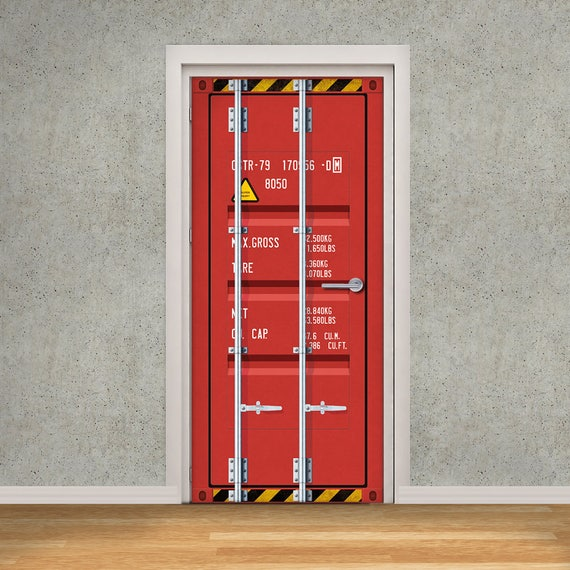 Shipping container door wrap self adhesive removable vinyl - Garage door vinyl wrap ...