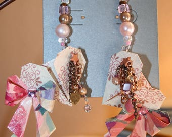 Origami Victorian Rose Hearts And Bows Earrings