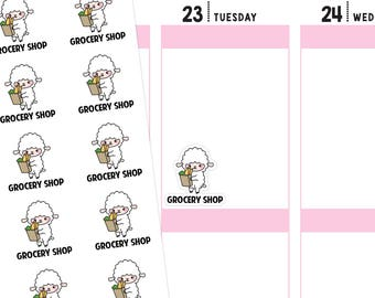 Grocery Shop Planner Stickers, Grocery Shop Stickers, Grocery Stickers, Shop Stickers, Food Stickers, Lamb Stickers