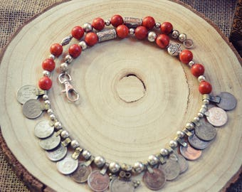 Slavic Collection Coins Coral Beads Hippie Tribal Ethnic Bohemian Vintage